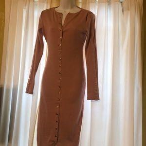 Fashion nova large pink button down midi dress